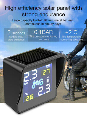 Solar Motorcycle TPMS Wireless Tire Pressure Monitoring System  External Sensors