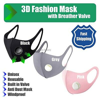 3D Fashion Unisex Face Mask with Breather Valve WASHABLE & REUSABLE Choose your