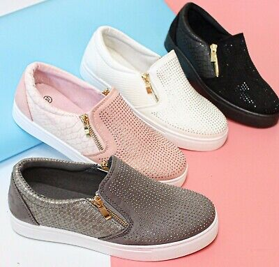 New Womens Ladies Slip On Studded Trainer Flat Zip Work Casual Gym Shoes