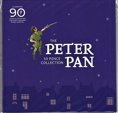 2019 The Peter Pan 50p 6 coin Collection Isle Of Man BUNC - Free P&P