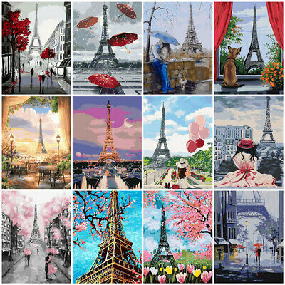 Paris Eiffel Tower Painting By Numbers Kits Includes Paints Brush Board