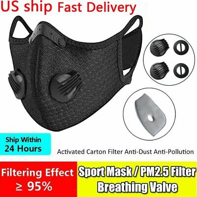 Reusable Sport Face Mouth Cover Mask With Valve Activated Carbon Filters Pad
