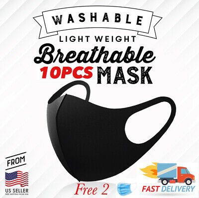 10PCS BLACK Face Mask Fashion 3D Adults Unisex Washable Mouth Nose Protective