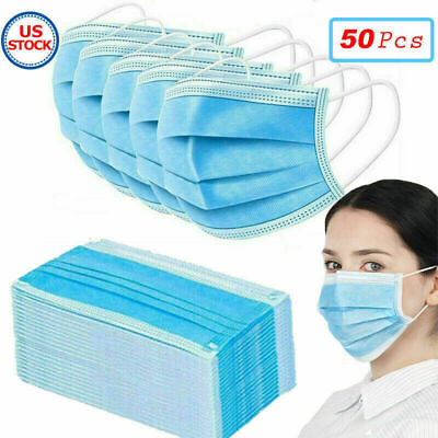 Blue Face Mask Mouth Nose Cover Respirator Safe Sanitary Protector With Filter