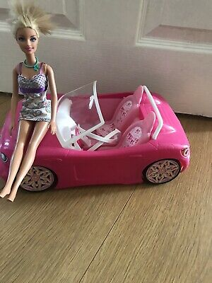 Barbie  Glam Pink Convertible Sport Car By Mattel 2013 ~ X1 barbie Doll Included