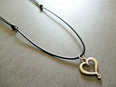 Black Unisex Waxed Beach Surf Hobo Cord Adjustible Necklace with Heart Pendant