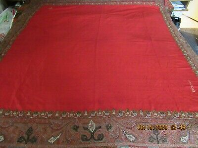 Luxurious Antique Red Wool Embroidered Kashmir Shawl Wrap