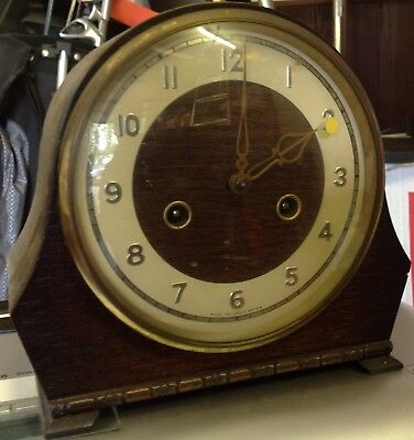 Vintage Smiths Enfield mantle clock with original manual and key for repair