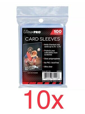 10x Ultra Pro Soft Card Sleeves (Packs Of 100) Trading Card Standard Protectors