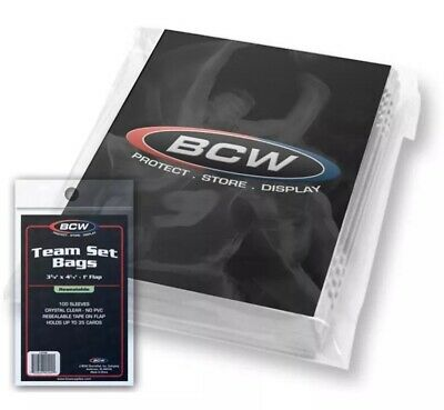 BCW TRADING CARD TEAM SET BAGS x 100 RESEABLE BAG pack