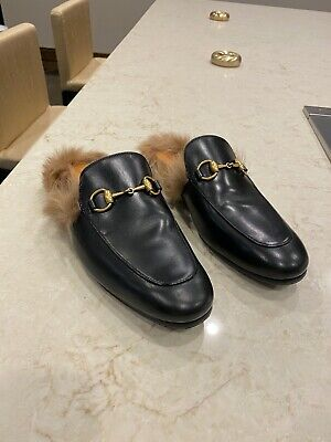 GUCCI BLACK LEATHER Princetown Mens