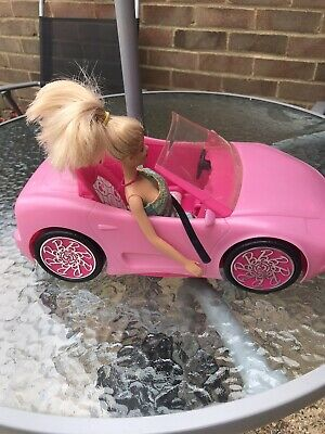 Mattel 2010 Barbie Pink  Glam Convertible Car With Barbie Doll