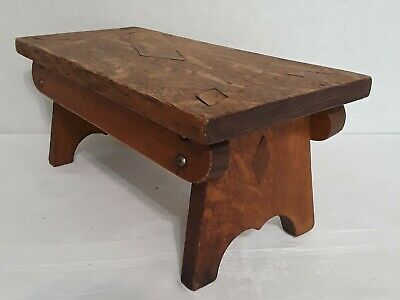Antique Arts and Crafts Mission Style Farmhouse 1916 Oak Wooden Step Foot Stool