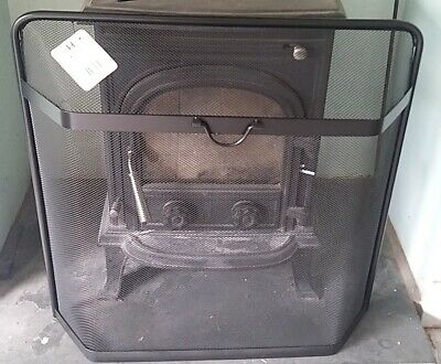 Fire Screen large Black steel mesh Fire Spark guard contemporary