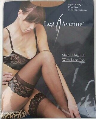 Woman's Beige Nude Leg Avenue Sheer Thigh High Lace Top 1011q Plus Size