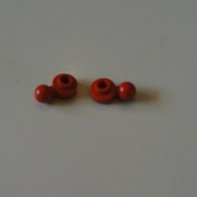 2X LEGO 3614a 3614 Red Plate Round 1 x 1 with Tow Ball with Round Hole Maxifig