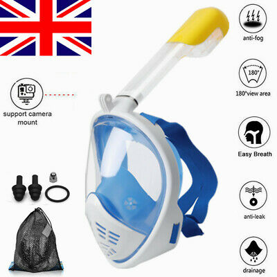 Full Face Snorkel Mask Set Scuba Diving Swimming Underwater Anti Fog For GoPro