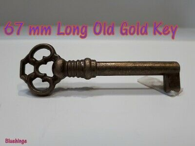 1 x Ornate key short 68 mm Long Antique Vintage Style Old Brass Furniture