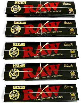 RAW Black CLASSIC Rolling Papers King Size Slim Natural + Tips Roach Rizla