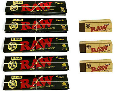 RAW Black CLASSIC Rolling Papers King Size Slim with Roach Filter Tips Rizla Kit
