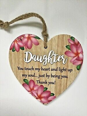 Details about  /Glass Heart Plaque for Daughter Beautiful Poem and Porcelain Flower Cute Frame