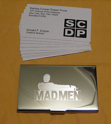 """DON DRAPER from """"Mad Men"""" Silver Business Card Case +10 cards VERY RARE Jon Hamm"""