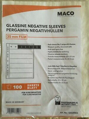 25 Pack ~ Great Quality /& Value Negative Glassine Storage Sleeves 35mm by Maco