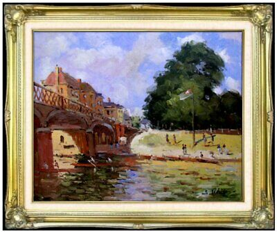 Framed Alfred Sisley Bridge at Hampton Repro, Hand Painted Oil Painting 20x24in