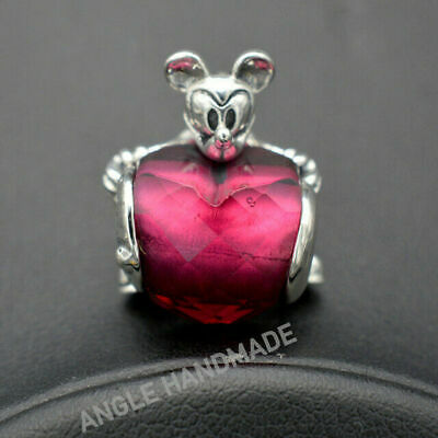Authentic S925 Sterling Silver Parks Exclusive Red CZ Mouse Love Heart Charms 🕊