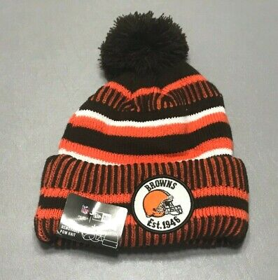 NWT New Era Cleveland Browns 2019 Season 100 Years NFL Pom Beanie Striped Hat