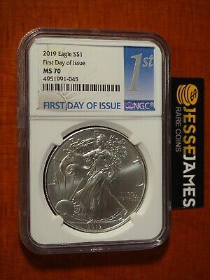 2019 $1 American Silver Eagle Ngc Ms70 First Day Of Issue Fdi 1St Label