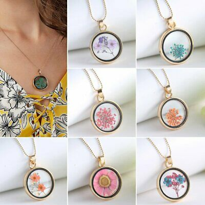Chic Women Circle Dried Flower Sliver Plated Bead Chain Pendant Necklace Jewelry