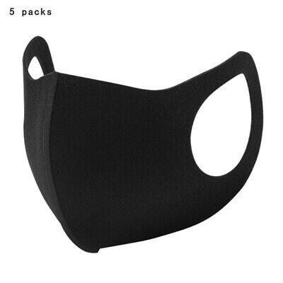 [5 Pack] Black Face Mask Breathable Washable 1 Layer Cloth Fabric Mouth Cover US