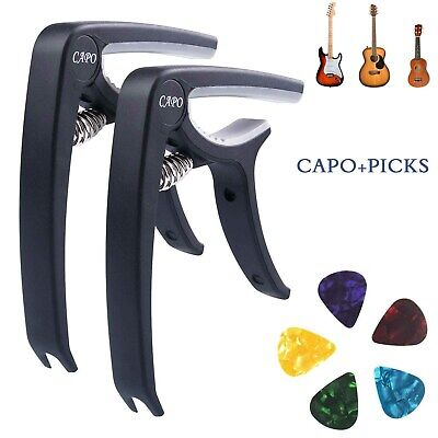 Guitar Capo Trigger Clamps for Acoustic Electric Classical Guitars Banjo w/ Pick
