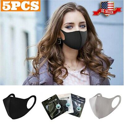 5PCS Adults Unisex Black Face Mask Washable Reusable Cloth Mouth Nose Cover