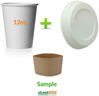 100 Pack 12 Oz [8, 16, 20] Disposable Hot Paper Coffee Cups, Lids, Sleeves, Stirring Straws To Go