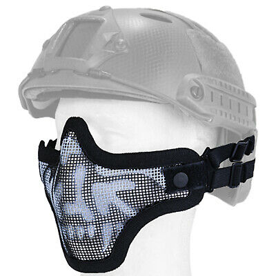 Lancer Tactical Helmet Mesh Protective Airsoft Paintball Half Face Mask - Skull