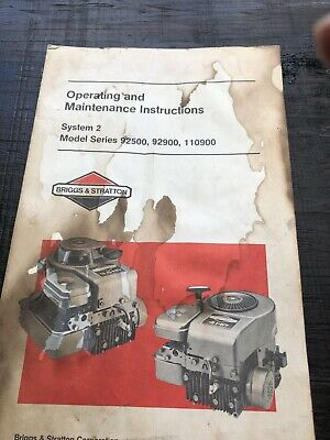 Briggs and Stratton Twin Cylinder Operating and Maintenance Instructions