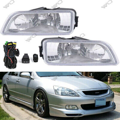 Pair Fog Lights Front Bumper Lamp Wiring Switch Kit for Honda Accord 2003-2007