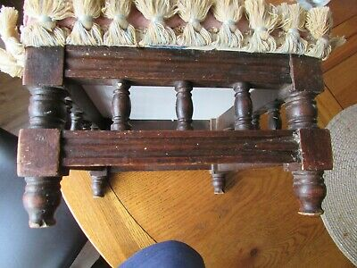 Small Antique Oak Upholstered Foot Stool Victorian Childs Pouffe Gallery Design