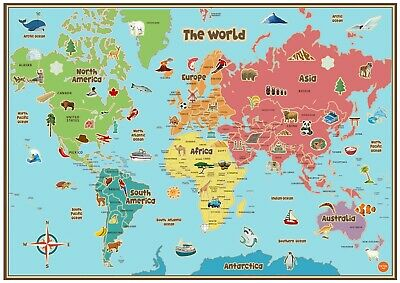 Kids Animal Map Of The World Educational Kam02 A3 A4 Poster Art Buy2 Get 1 Free