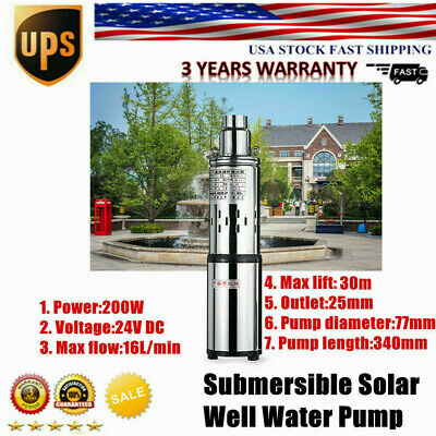 Deep Well Submersible Pump Stainless Steel Solar Energy Water Pump 12V 180W 13.2GPM