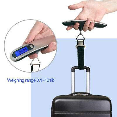 Weight 110lb / 50kg Portable Travel LCD Digital Hanging Luggage Scale Electronic