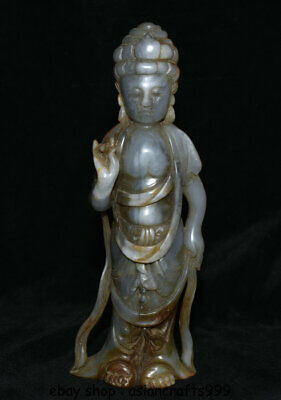 "8.4 ""China Natural Nephrite Hetian Jade Carving Avalokitesvara Statue"