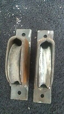 Lot Of 2 Antique Window Weights Rollers Sash Rope Pulleys Cast Iron