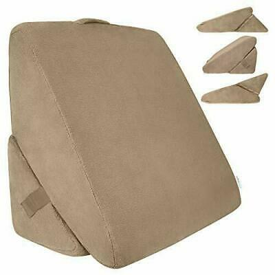 Xtra-Comfort Bed Wedge Pillow - Folding Memory Foam Incline Cushion Brown
