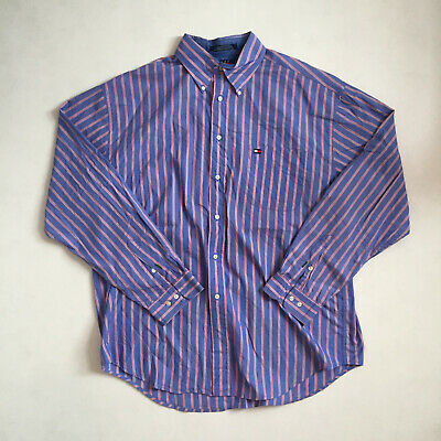 Tommy Hilfiger blue red striped long sleeve shirt XL RRP85 HED8