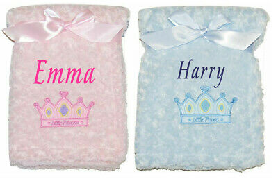 Baby Blanket Embroidered Personalised Fluffy Christening Shawl Comforter Present