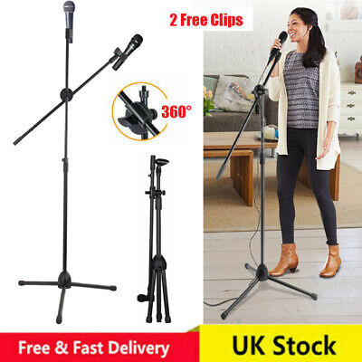UK Professional Boom Microphone Mic Stand Holder Adjustable & 2 Free Clips Black