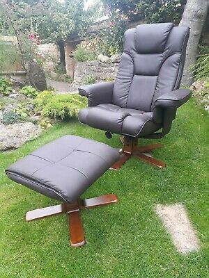 MALMO RECLINER AND Footstool swivel chair In Black or Brown